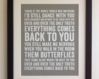 FRAMED Lyrics Print - Niall Horan, This Town - 20 Colours options, Black/White Frame, Wedding, Anniversary, Valentines, Fab Picture Gift
