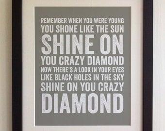 FRAMED Lyrics Print - Pink Floyd, Shine On You Crazy Diamond - 20 Colours options, Black/White Frame, Wedding, Anniversary, Valentines, Gift