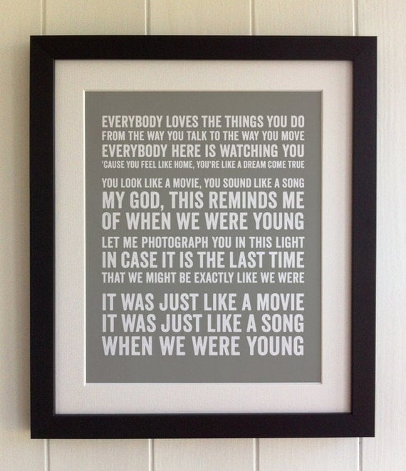 When We Were Young: FRAMED Lyrics Print Adele When We Were Young 20 Colours
