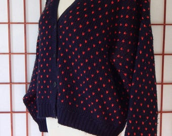 Vtg Heart Sweater Large Oversized Cropped Cardigan Black Red Sportif French (R6-65)