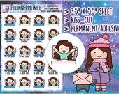 Hand Drawn Planner Sticker Bed Sticker ECLP Stickers Happy Planner Doodle Stickers Chibi Sticker Cute Stickers Girl Sticker 427