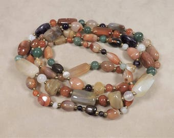 Stone Bead Necklace, Long Strand Agate and Stone Beads, Semi Precious Stones, 48 inch necklace, Amethyst, Carnelian, Citrine, Agate & More