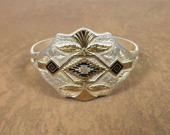 Montana Silversmith Bracelet, Southwestern Style Design, Silver & Gold Plated, Tribal Looking Patterns, High End Costume, Western Jewelry