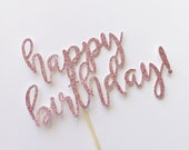 Cake Topper-Party Supplies-Birthday Cake Topper-Girl Birthday Decor-Happy Birthday Cake Topper-Glitter Cake Topper-Sparkle Cake Topper