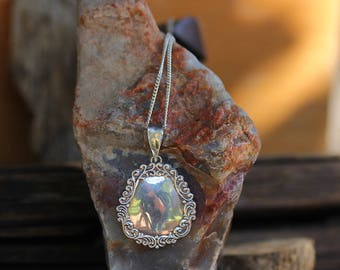 Vintage Sterling Silver Necklace / Floral Pendant Necklace