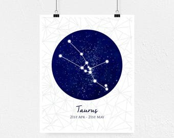Taurus Art, Taurus Print, Taurus Gift, Taurus Wall Art, Taurus Zodiac Gift
