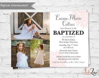 LDS Baptism Invitation, LDS Girl Baptism Invitation, SunBurst Flower, Photo Invitation Customized 5x7 Printable Digital File