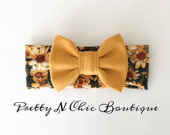 NEW! Mustard Floral Print Bow Headwrap