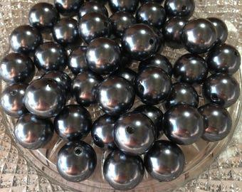 20mm Chunky Beads , Gunmetal Pearl Chunky Bubblegum Beads , 10pc bead set , Gumball eass , Wholesale beads