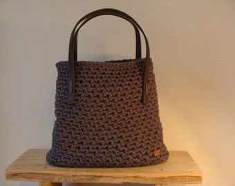 Grey crochet Zpagetti bag.