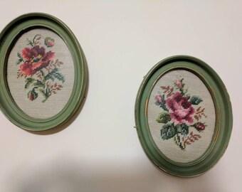 Vintage cross stitch, roses framed. FREE SHIPPING!      Item #25173.