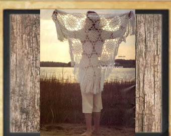 Vintage Lace Shawl Crochet pattern in PDF instant download version