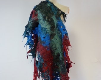Boho multicolored felted shawl. Warm and fashion together.