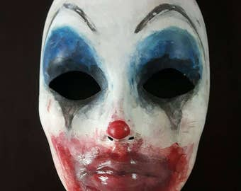 Scary Clown Mask, The Clown, Creepy Clown Mask, Horror Mask, Handpainted Mask