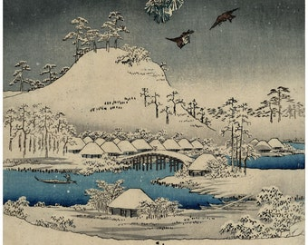 Viewing in the snow panel 2 of triptych by Ando Hiroshige and  Utagawa Toyokuni Japanese woodblock print