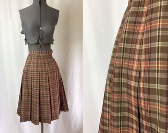 Xs ** 1950s BOBBI BROOKS brown plaid pleated cotton skirt ** vintage fifties designer tartan skirt