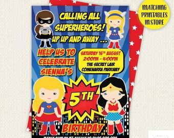 Superhero Invitation, superhero party, girl superhero invitation, girl party invitations, superhero birthday, Digital, Printable, Super hero