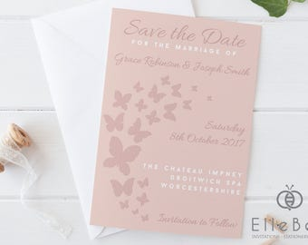 Butterfly Save The Date Card // Butterfly Save The Date // Blush Pink Save The Date Card // Covent Garden Collection // Elle Bee Design