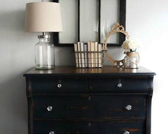 Antique Empire Dresser - Black Empire Dresser painted in Old Fashioned Milk Paint Pitch Black Chippy Dresser Primitive Furniture