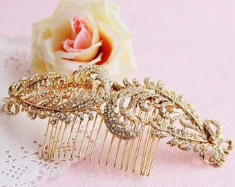 Bridal Hair Accessories Gold Hair Combs Headdress Vintage Wedding Hair Accessory Rhinestone Jewelry Women Hair Comb