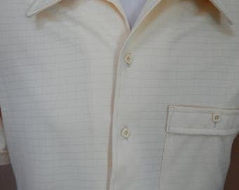 70's mens' polyester button-down short-sleeve pastel yellow shirt, JCPenney