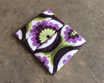 Pocket Tissue Holder, Travel Size Tissue Holder, Retro Floral Print, Fabric Tissue Holder