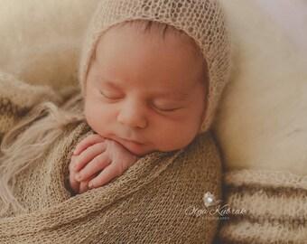 Newborn Photo Prop,Newborn Knit Bonnet, Newborn Classic Knit Bonnet, Mohair Bonnet, Tan Lacy Bonnet, Lace Bonnet, Baby Boy, Baby Girl