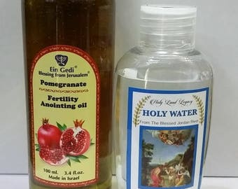 Pomegranate Fertility Anointing Oil 100 ml,3.4fl.oz From Holyland Jerusalem and Jordan river holy water 50 ml,1.7 oz