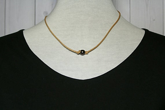 Single black pearl leather cord choker by TheRusticBohoChic