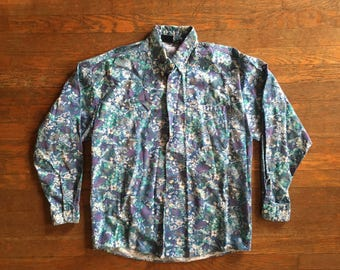 Vintage 1990s Mens Bon Homme WILD Abstract All Over Flower Print Button Up Long Sleeve SHIRT Size Medium Large Hipster Nu Rave
