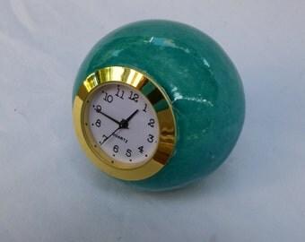 Small Desk clock, Ball shaped turquoise ceramic table clock, Turquoise Ceramic clock, Shelf clock, Vintage Retro style Clock, Ball clock,