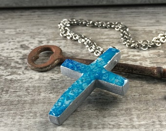Hand Painted Polymer Clay Cross Pendant Necklace