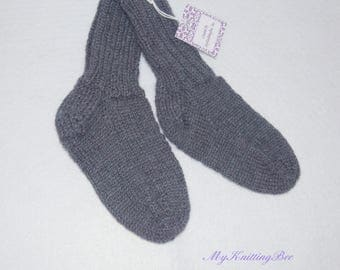 Hand Knit Baby Socks  in Blue (12 - 24 Months)