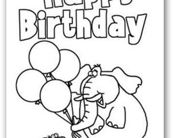Kid's Color-In Birthday Greeting Cards - 24006a