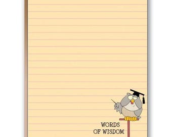 Owl Has Some Words of Wisdom Funny Note Pad - 2 Cute Note Pads - 35008
