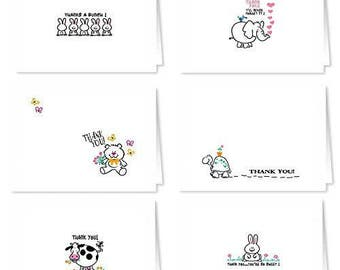 Assortment Cute Animal Thank You Notes - 18 Blank Assorted Thank You Notes - Boxed Set - 717-Rabbit