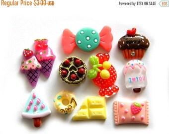 HALF PRICE 10 Random Sweet Treats Cakes and Candy Food Flatbacks - Resin Cabochons Kawaii
