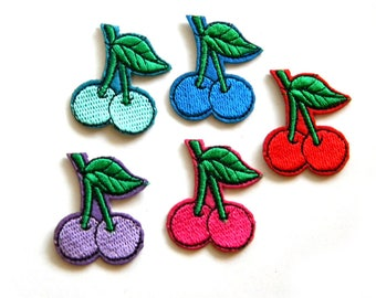 Pack of 5 Assorted Cherries Embroided Patch Appliqué