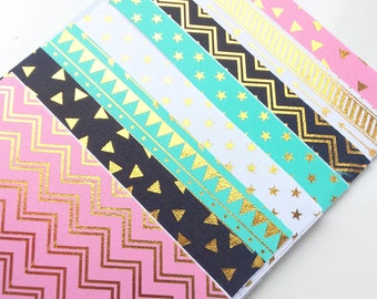 Rose gold/copper self adhesive fabric sheets - set of 8 sheets | fabric sticker sheets | triangles, bunting/flags, stars, dots, zigzag