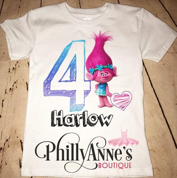 Trolls Happy Birthday Banner We Can Easily Add An: Trolls Birthday Shirt Poppy Shirt Girls Birthday Shirt