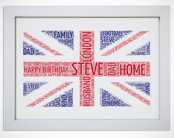Personalised Union Jack British Flag Framed Word Art Cloud Picture London UK Gift