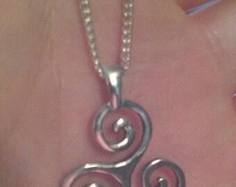 Silver Triskelion pendant, triskele necklace, sterling silver, triskelion necklace, silver triskel, Celtic triquetra, celtic trinity knot.