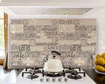 "PR00023 ""Splashguard Espresso"" 100x60 cm printed on acrylic glass Kitchen Design Stickers"