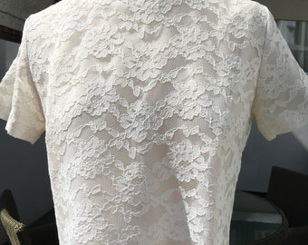 Vintage 60s Nylon Lace Blouse -Cream - Shell Top