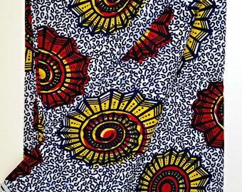 Sold By the Yard|African Dutch Wax Ankara Fabric |Blue Yellow Red African Print Fabric| 100% Cotton
