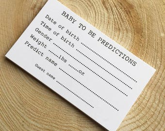 Baby to be Prediction Cards for Baby Shower Party
