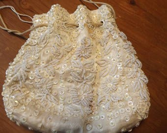 Vintage Handbag sale sequin beaded  drawstring purse evening prom wedding