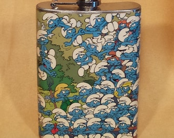 Smurf 'till Smurfette or Papa Smurf is hot! - 8 oz stainless steel flask