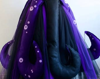 Women's Halloween Ursula Seawitch inspired Villain Party Skirt & Tentacles, Various Sizes