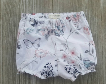 Baby girl bloomers, shorts or diaper cover,bird floral print, Ruffles can be added
